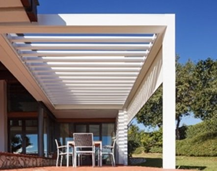 Louvered Pergola roof by Sunair on patio